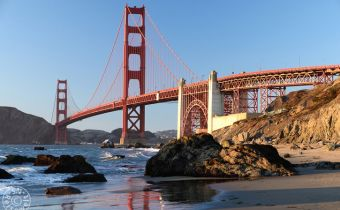 Golden Gate Bridge am Baker Beach